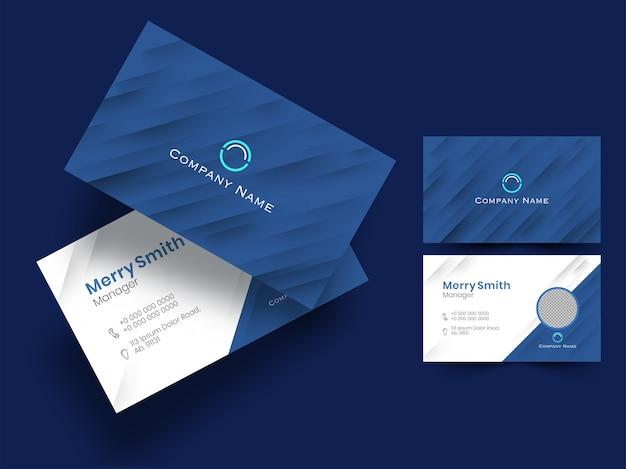 Синий и белый цвет макета визитной карточки или набора визитных карточек Premium векторы