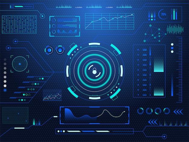 サイエンスフィクションの未来的なハドロックロックダッシュボードは、仮想現実技術の画面背景を表示します。 Premiumベクター