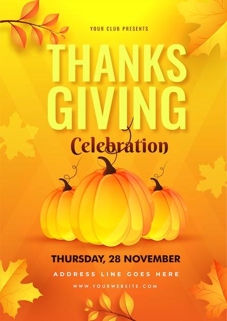 感謝祭のお祝いテンプレートまたは黄色とオレンジ色に飾られたカボチャと紅葉のチラシ。 Premiumベクター