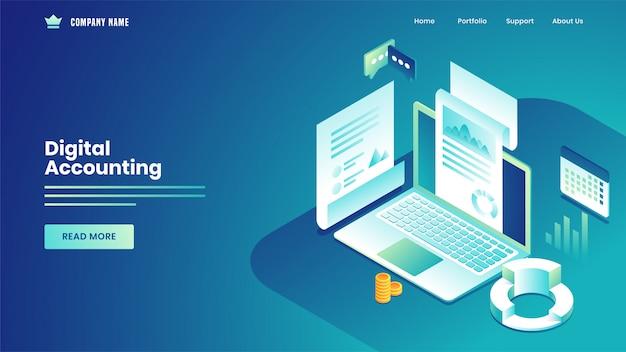 Цифровой учет на основе целевой страницы с получением статистических данных уведомления от ноутбука на синем. Premium векторы