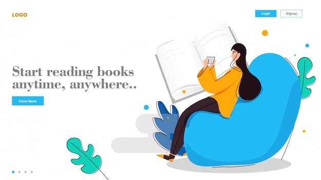 Молодая девушка начинает читать книги в любое время, в любом месте с смартфона на абстрактной для целевой страницы онлайн образования. Premium векторы