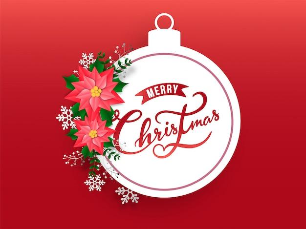 雪の結晶と赤の背景に花で飾られた安物の宝石フレームの書道メリークリスマステキスト。 Premiumベクター