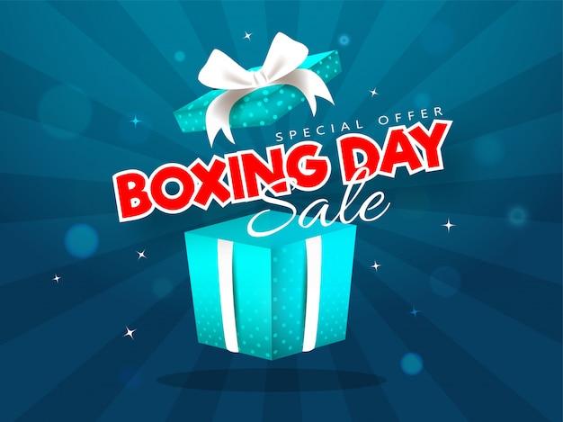 Рекламная распродажа баннера с сюрпризом в подарочной коробке от рождества Premium векторы