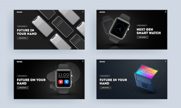 ランディングページまたはヒーローのセットは、スマートフォン、時計、ノートパソコンのイラストとしてスマートデバイスで撮影しました。 Premiumベクター
