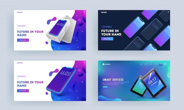 抽象的な背景セットのスマートフォンとタブレットのランディングページ。 Premiumベクター