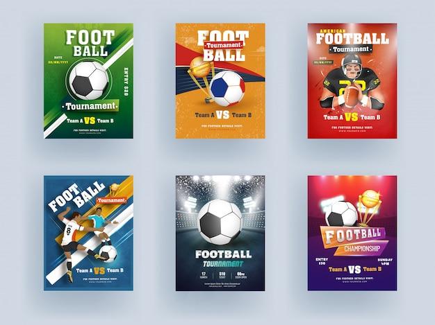 ゴールドトロフィーカップと異なる色の背景のプレーヤーキャラクターとサッカー選手権とトーナメントテンプレートまたはチラシデザイン。 Premiumベクター