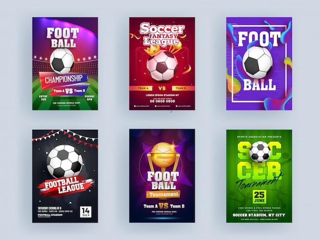 フットボールチャンピオンシップリーグとサッカートーナメントテンプレートまたはチラシデザインセットゴールデントロフィーカップ、クラウン。 Premiumベクター
