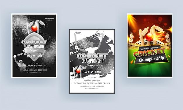 クリケットトーナメントとクリケット選手のキャラクターを使用したクリケット選手権テンプレートまたはチラシデザインセット Premiumベクター