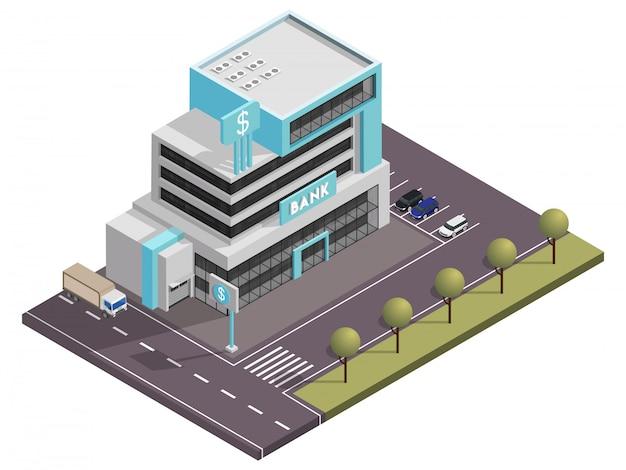 ストリートヤードビューの前に駐車場と等尺性銀行ビル Premiumベクター