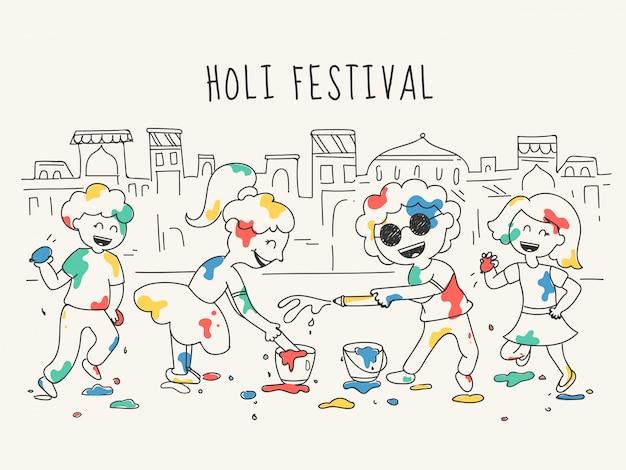 家の都市の前でホーリー祭を祝う幸せな子供キャラクターの落書きスタイルイラスト。 Premiumベクター
