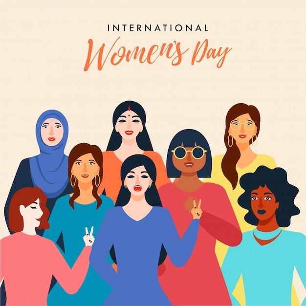 国際女性の日グリーティングカード Premiumベクター