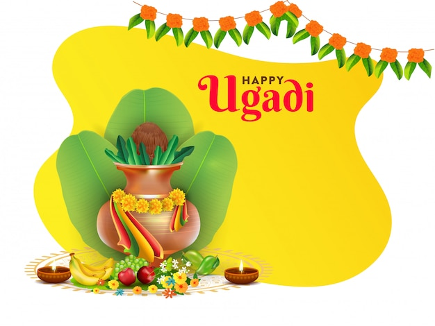 Иллюстрация счастливого праздника угади с горшком поклонения (калаш), банановыми листьями, фруктами, цветами и масляными лампами с подсветкой Premium векторы