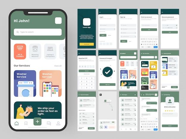 Комплект пользовательского интерфейса для мобильных приложений с различным макетом графического интерфейса, в том числе экраны входа, регистрации, создания учетной записи, технических деталей, службы доставки и оплаты. Premium векторы
