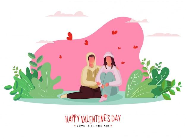 ピンクと白の心と緑の葉と一緒に座って漫画恋人カップル Premiumベクター