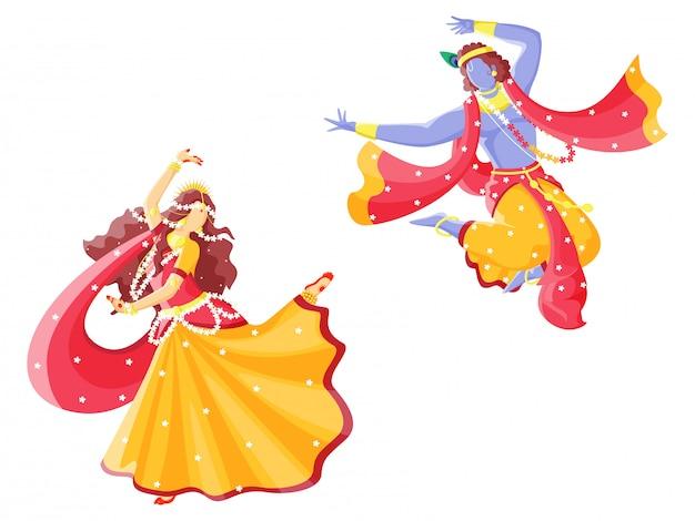 Индийский бог кришна и радха исполняют танец. персонажи. Premium векторы