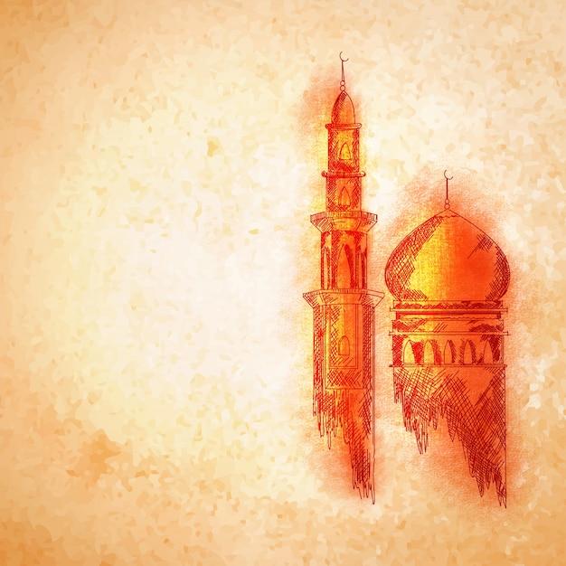 イスラムフェスティバルの概念のためのオレンジのモスク。 Premiumベクター