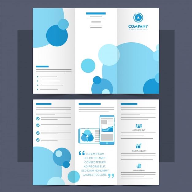 ビジネストライフォールドパンフレット、リーフレット、青い円。 無料ベクター