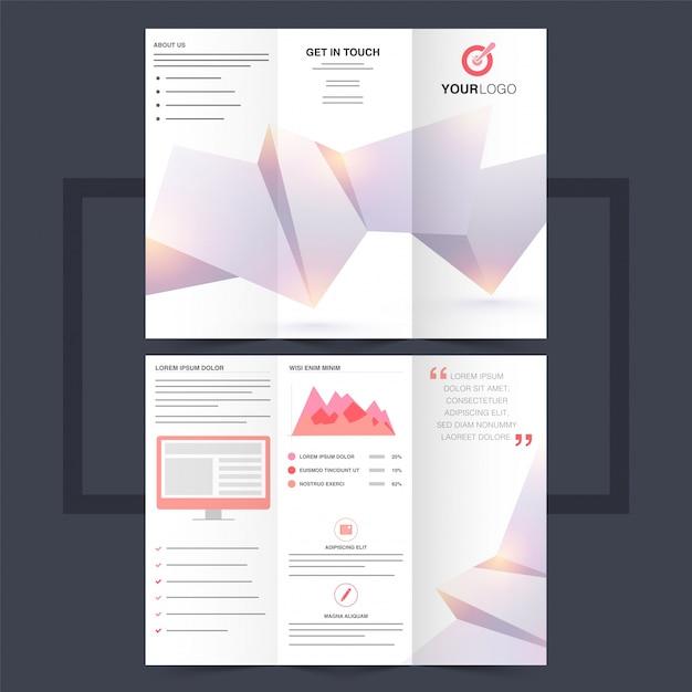 Деловая трехцветная брошюра или дизайн флаера с абстрактным дизайном оригами. Premium векторы