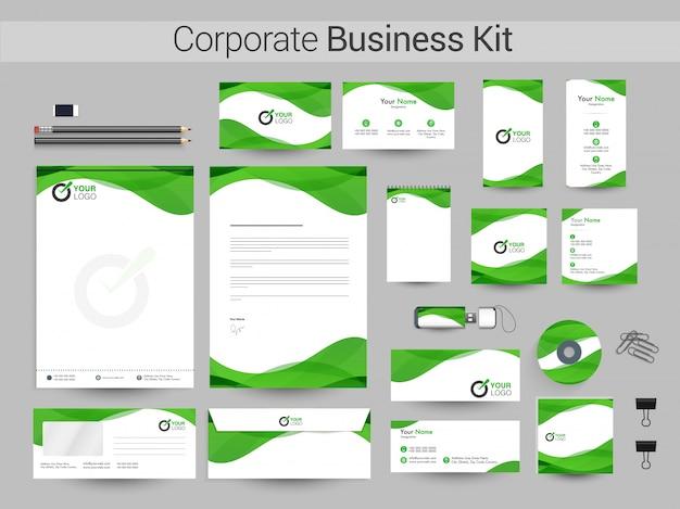 Белый фирменный стиль с зелеными волнами. Premium векторы