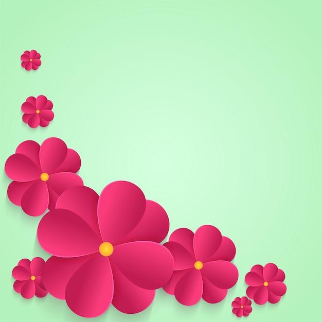 抽象的な背景にピンクの紙の花。 Premiumベクター