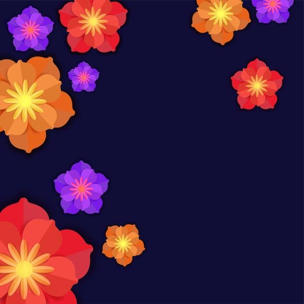 青い背景にカラフルな紙の花。 Premiumベクター