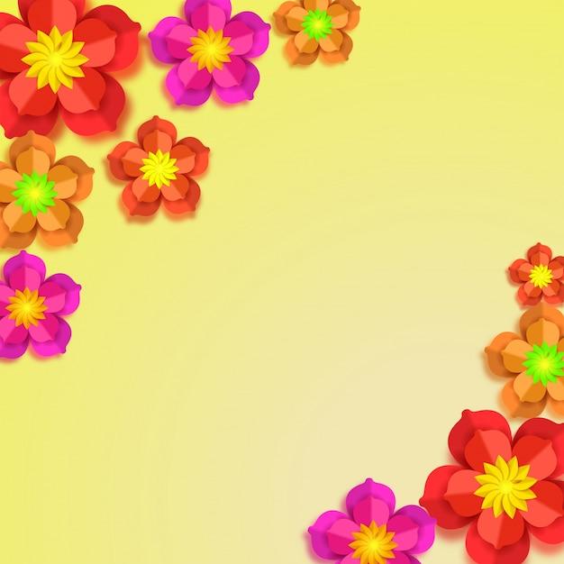 黄色の背景にカラフルな紙の花。 Premiumベクター