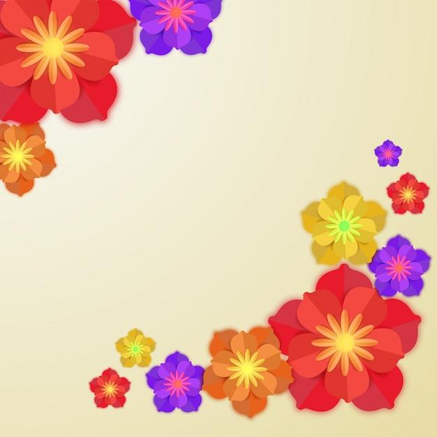 抽象的な背景にカラフルな紙の花。 Premiumベクター