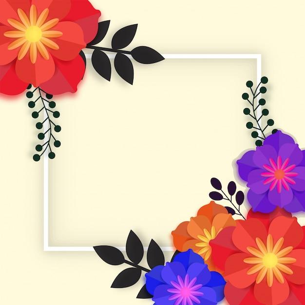 フレーム付きの美しい紙の花。 Premiumベクター