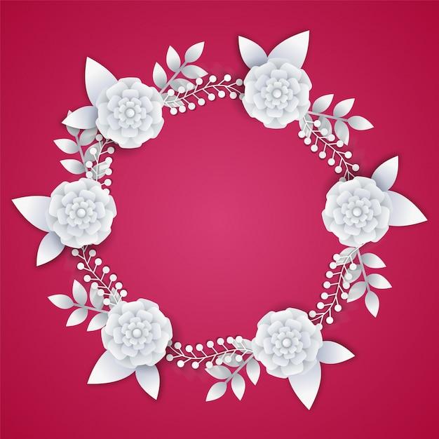 ピンクの背景に白い紙の花。 Premiumベクター