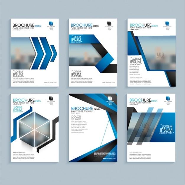 幾何学的な青の形状のビジネスリーフレット Premiumベクター
