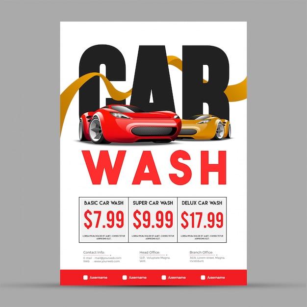 Автомойка, баннер, плакат, листовки или тарифная карта для вашего бизнеса. Premium векторы
