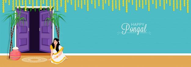 Счастливые пожелания понгала или приветствие фона. Premium векторы