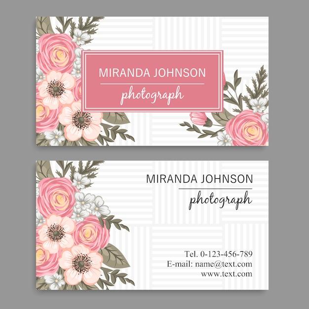 Шаблон визитной карточки с красивым цветком Premium векторы