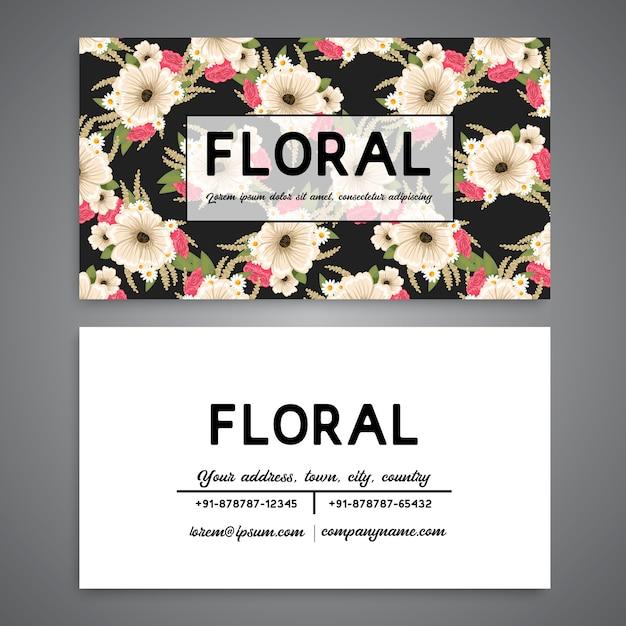 ヴィンテージビジネスと花柄の訪問カード Premiumベクター