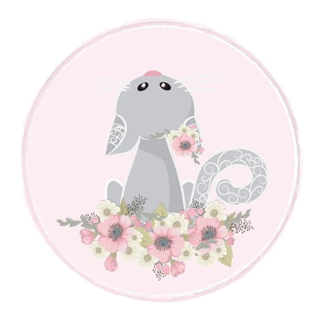 かわいい甘い猫が花を集める 無料ベクター