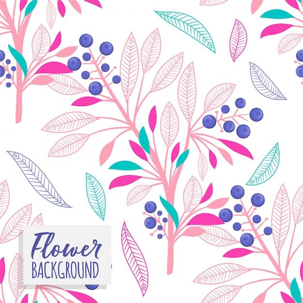花と葉と花束の花束のベクトルパターン 無料ベクター