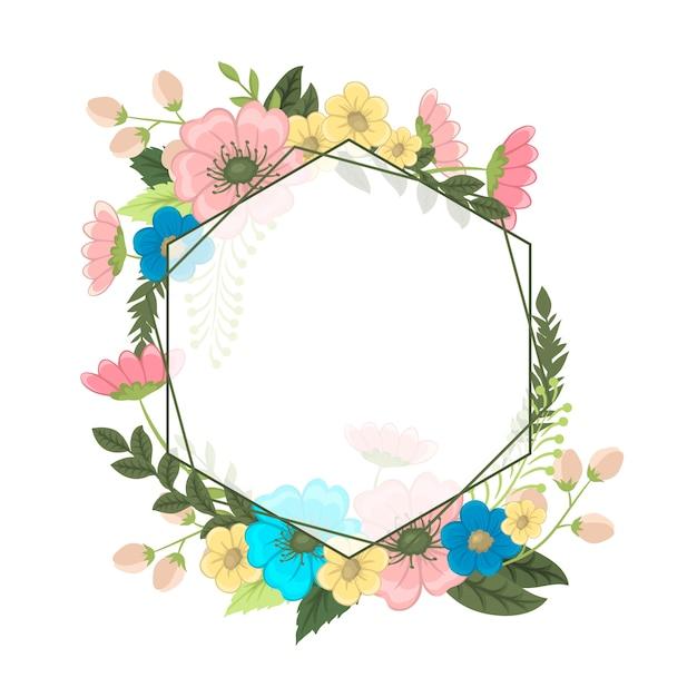 カラフルな花の花のフレーム。 無料ベクター