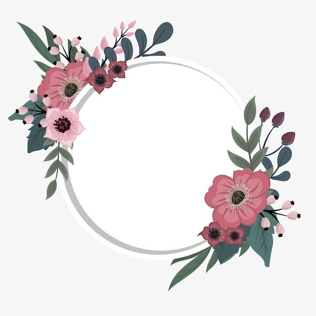 花のフレームテンプレート。ベクトル図。 Premiumベクター