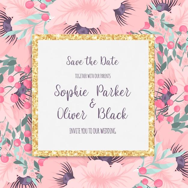カラフルな花の結婚式の招待状。 無料ベクター