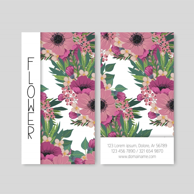 かわいい花模様名刺名刺デザインテンプレート 無料ベクター