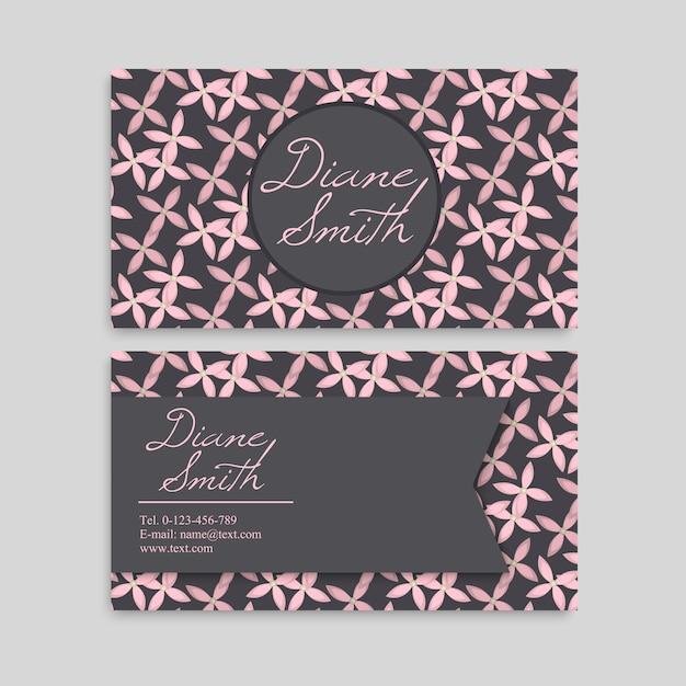 Симпатичный цветочный шаблон визитная карточка имя шаблона дизайна Бесплатные векторы