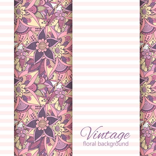 Векторный баннер с розовыми и фиолетовыми цветами Premium векторы