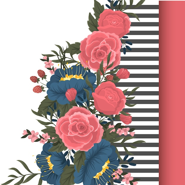 赤いバラと青い花とベクトルデザインのバナー Premiumベクター