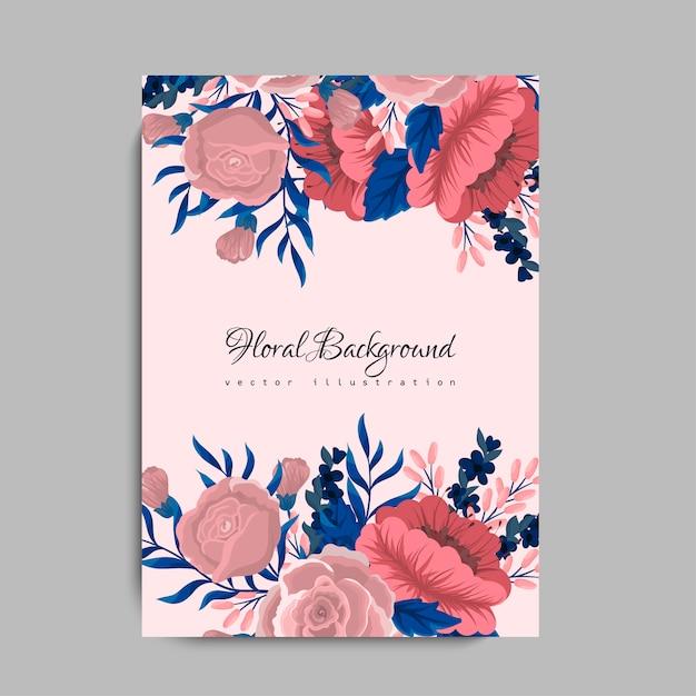 花とグリーティングカード 無料ベクター