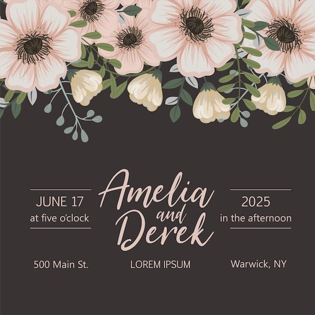 色とりどりの花で結婚式の招待状。 無料ベクター