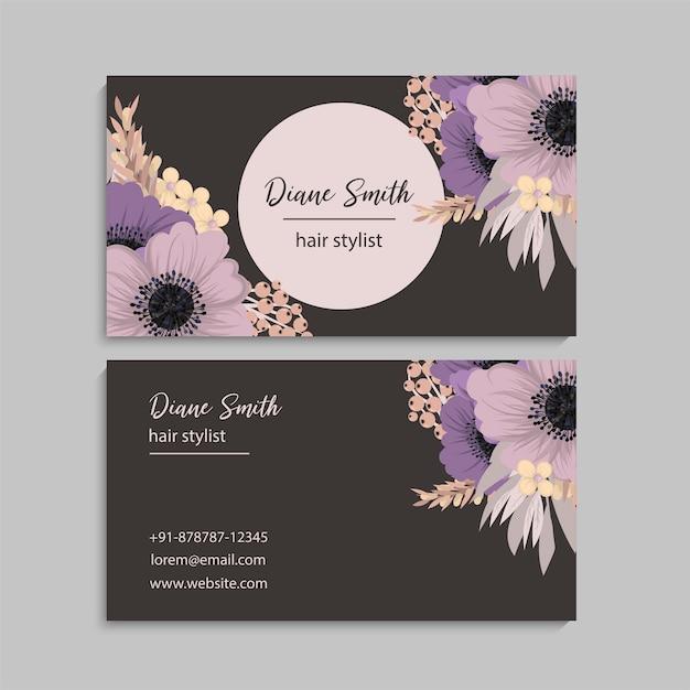 花の名刺デザイン Premiumベクター