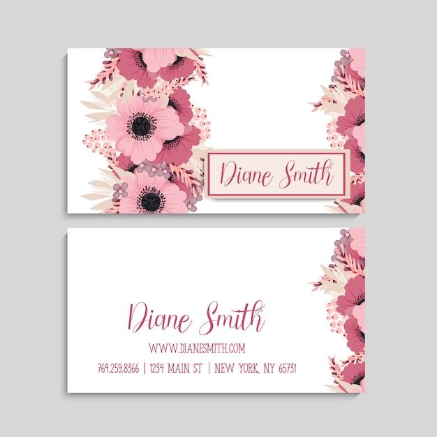 Цветочный дизайн визитки Premium векторы
