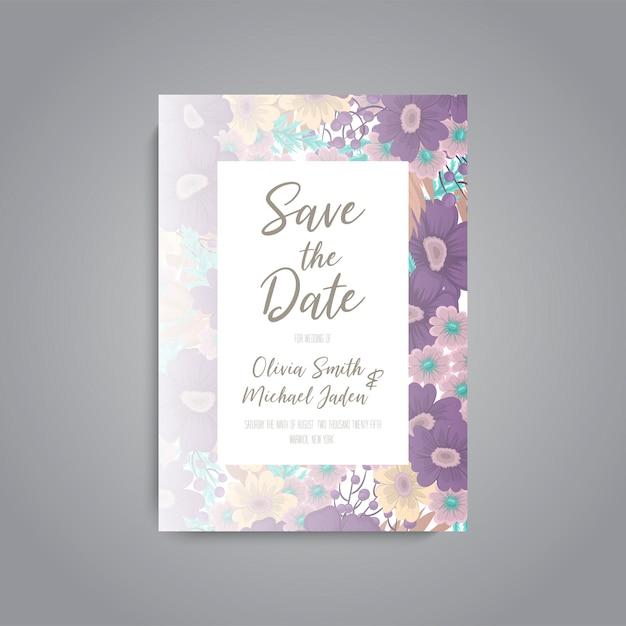 花の結婚式の招待カードスイートテンプレート 無料ベクター