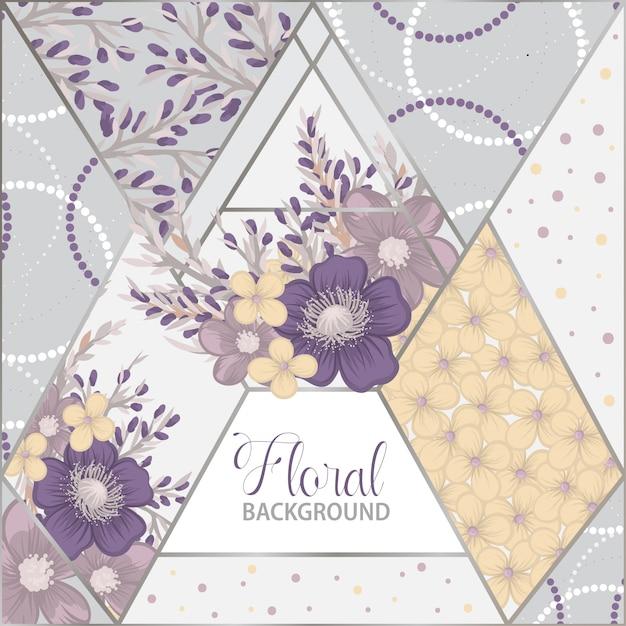 幾何学的要素を持つ花パッチワークパターン Premiumベクター