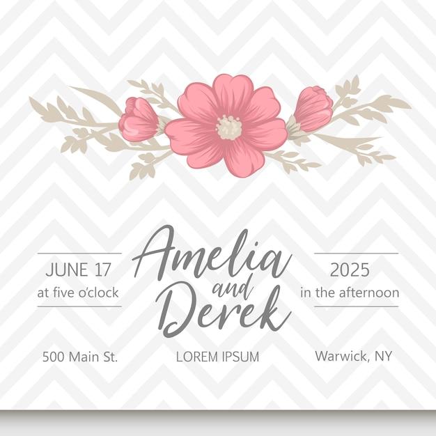 花のテンプレートと結婚式の招待カードスイート。 無料ベクター